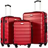 COOLIFE Hartschalen-Koffer Trolley Rollkoffer Reisekoffer mit TSA-Schloss und 4 Rollen(Rot, Koffer-Set)